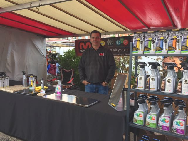 Tom Munro promoting MunroCo brands at a local French Market in Wheaton, Illinois.
